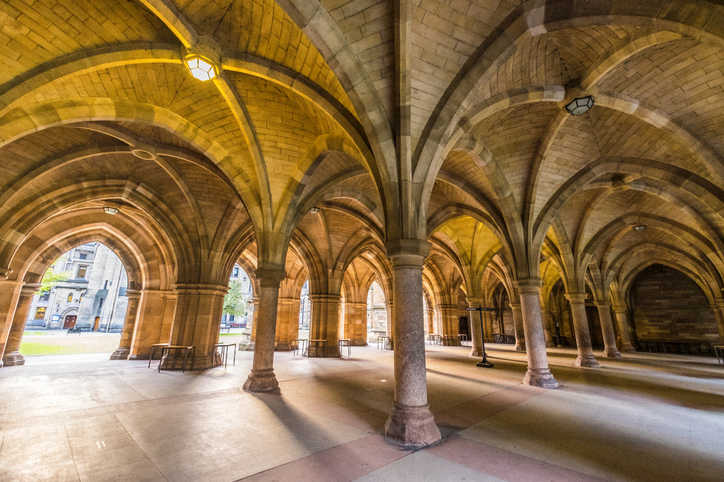 The University of Glasgow Cloisters, added grain effect.