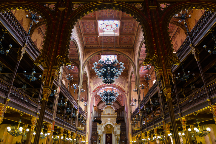 Wide-angle view of Budapest Great Synagogue (Dohány Street Synagogue - 1854-1859), the largest synagogue in Europe and one of the largest in the world.