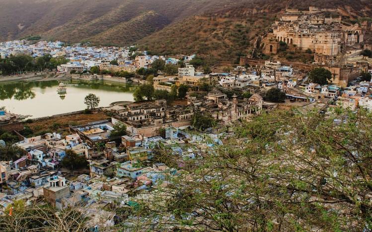 Landscape shot of Bundi town in Rajasthan, Northwest India.