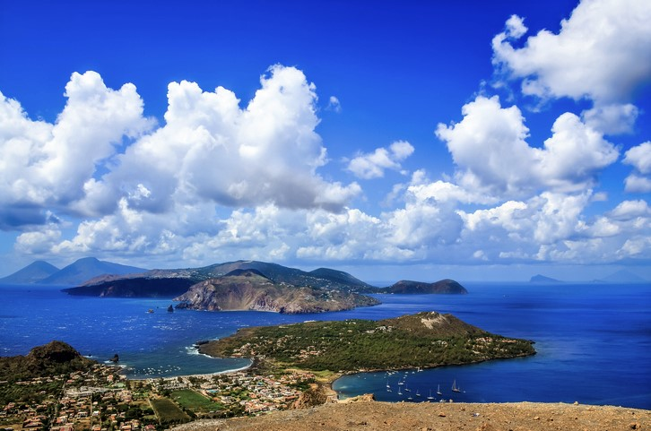View of Lipari islands near Sicily, Italy