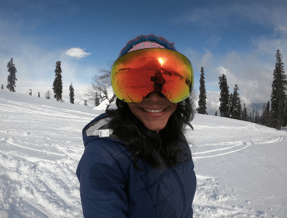 A woman in skiing goggles in Gulmarg
