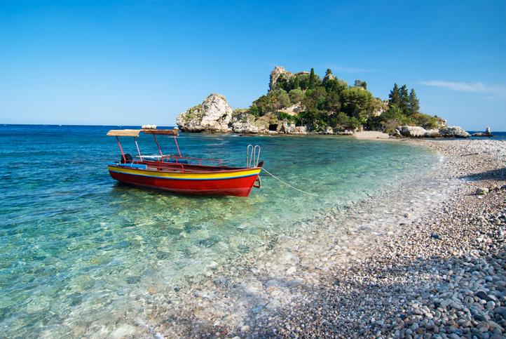 Isola Bella, a small island near Taormina, Sicily, Italy.