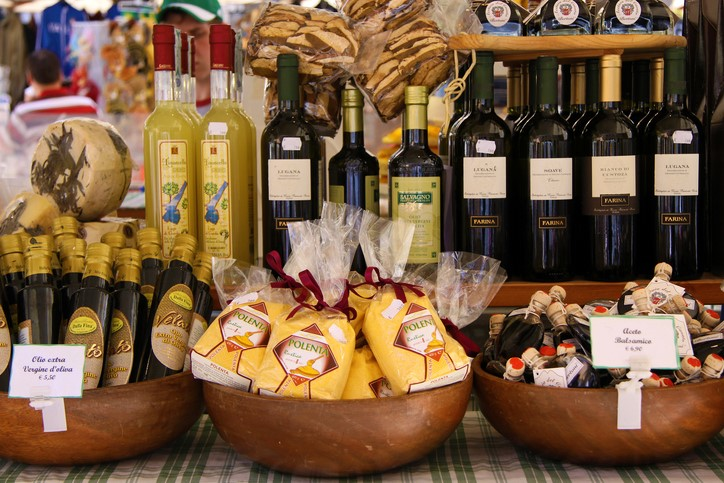 Market stall with delicacies in Verona