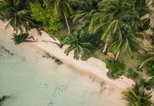 Aerial view of young woman relaxing on hammock in tropical beach paradise, shot in the Philippines on deserted island travel southeast asia