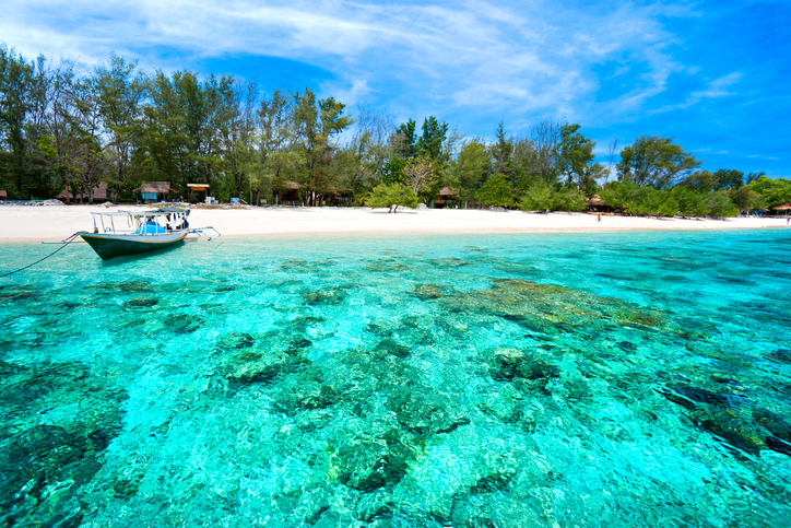 Beautiful sea of Gili Meno, with view of Gili Air. Indonesia. Southeast Asia
