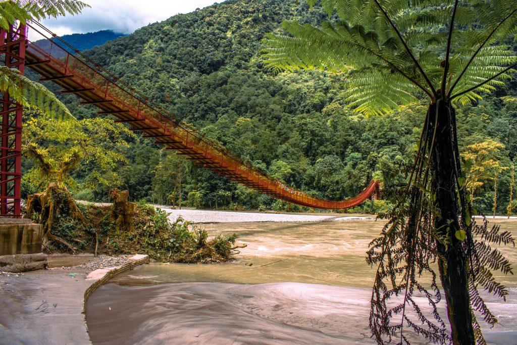 A bridge and beach-like area in Dzongu, Sikkim