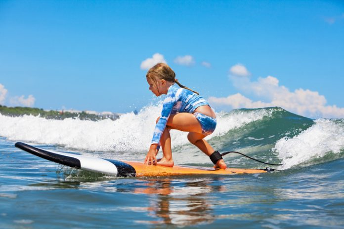 Surfing in bali with kids