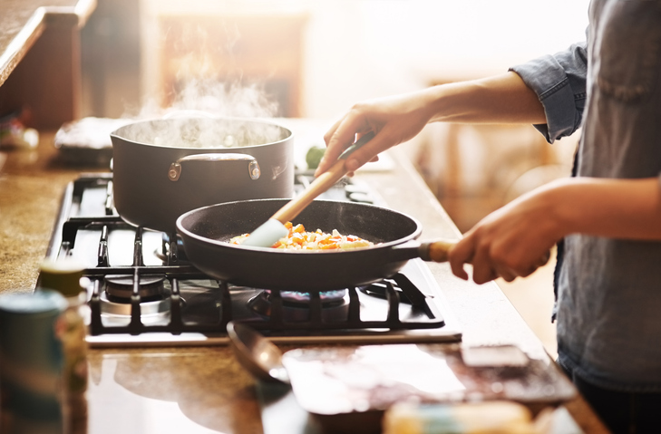 Preparing meals at home using online cooking classes