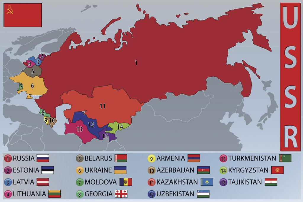 Map and Flags of the Republics of the Former USSR, soviet states