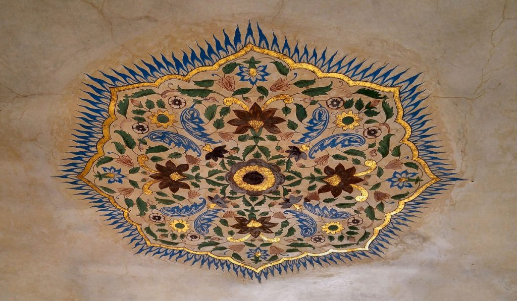 Ceiling Painting with actual Gold Borders - Amer Fort, Jaipur