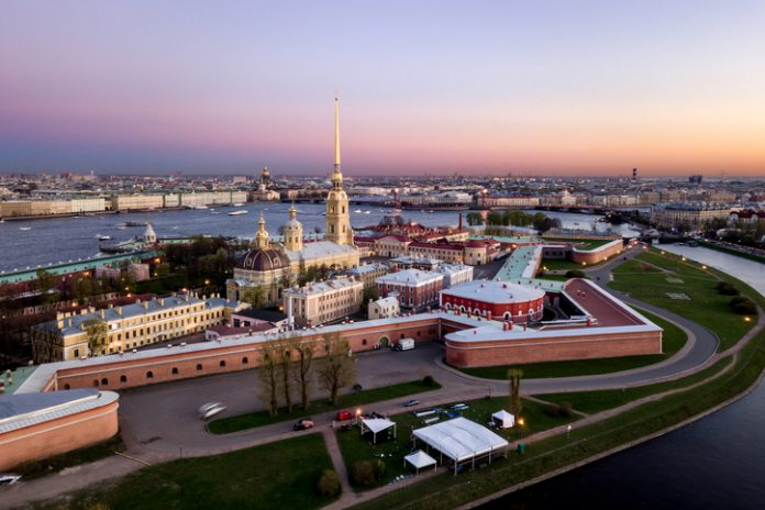 Aerial view of Peter and Paul Fortress, Neva river, Saint Petersburg, Russia