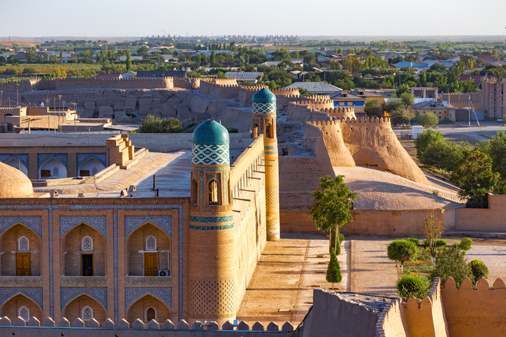 View of the ancient wall of Khiva, in Uzbekistan.