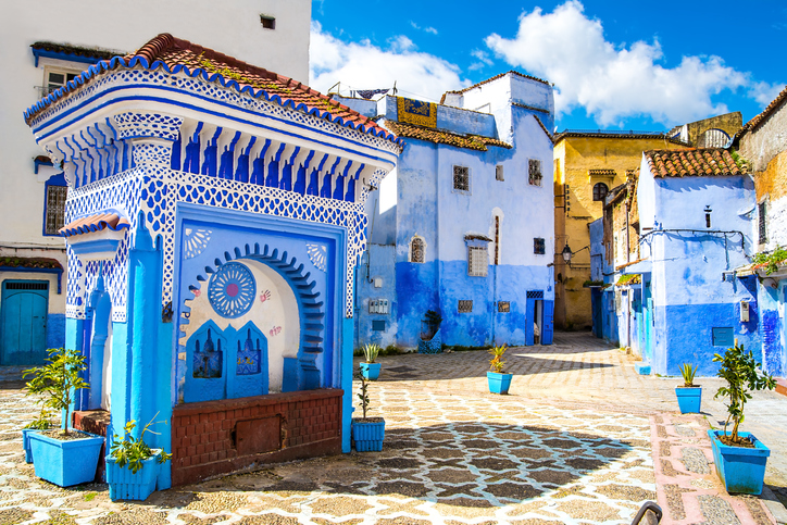 Beautiful view of the square in the blue city of Chefchaouen. Location: Chefchaouen, Morocco, Africa.