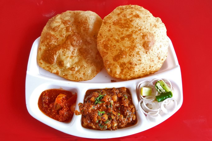 Chole Curry with Bhature, a popular Indian food. street food in delhi