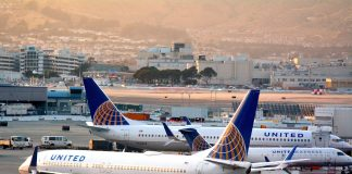 United Airlines planes in San Francisco International Airport.It is the world's largest airline when measured by number of destinations served.