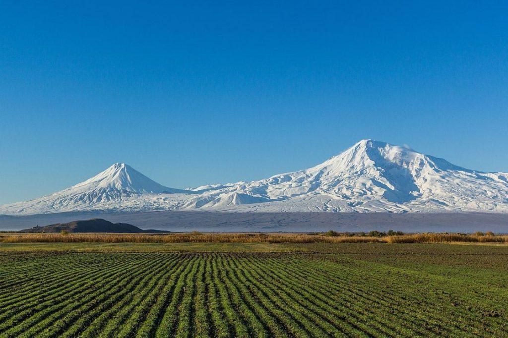 Mount Ararat from Artashat, highest mountains in Europe