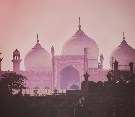 Domes of the The Badshahi Mosque (Emperor Mosque ) built in 1673 by the Mughal Emperor Aurangzeb in Lahore, Pakistan tourism