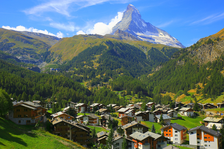 Matterhorn Above Zermatt alpine village swiss chalets panorama, Swiss Alps