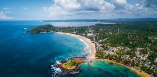 Aerial panorama of the tropical beach Sri Lanka