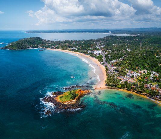 Aerial panorama of the tropical beach Sri Lanka