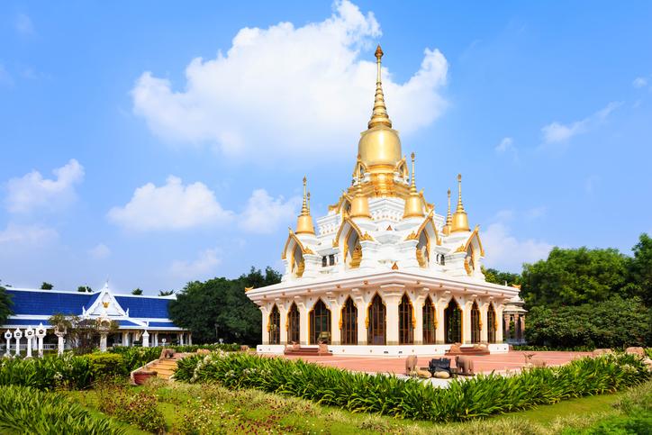 Nine tops pagoda, thai style at thai temple kushinagar, India