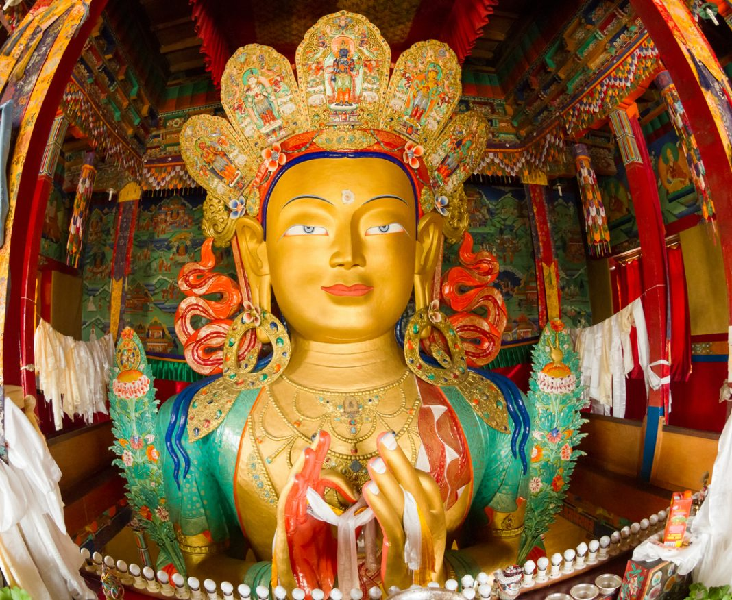 Maitreya Buddha, upper part of the Giant statue, Thikse Monastery