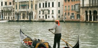 Venice, Gondola on Grand Canal in Venice, Italy