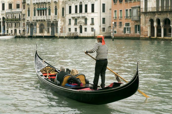 Venice, Gondola on Grand Canal in Venice, Italy