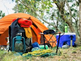 Equipment and accessories for mountain hiking in the wilderness trekking essentials