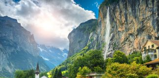 Fabulous mountain village with high cliffs and waterfalls, Lauterbrunnen, Switzerland