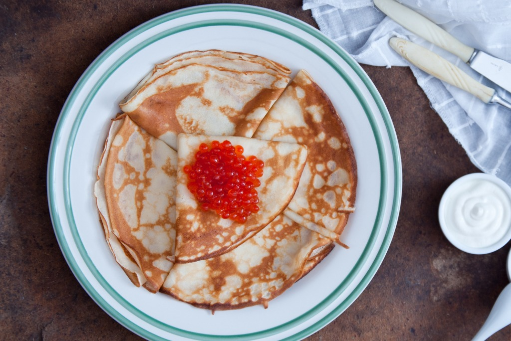 Russian Blini with red caviar