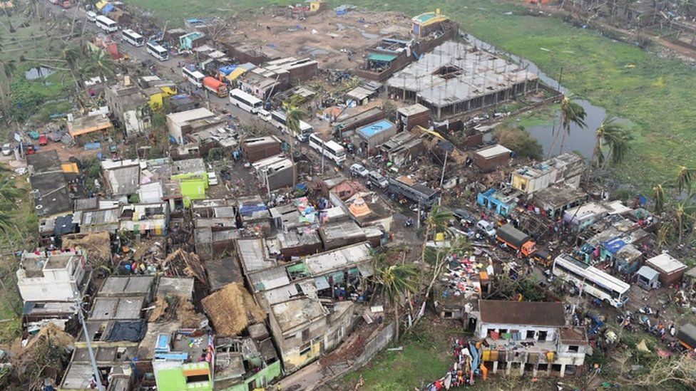 Storm damage in a residential area of Puri Cyclone Fani