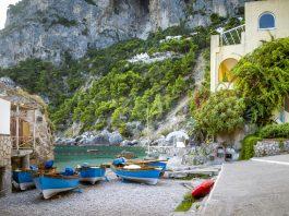 Panorama of Marina Piccola on Capri Island, Italy