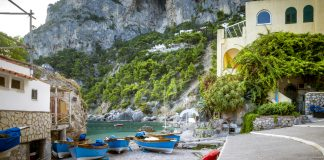 Panorama of Marina Piccola on Capri Island, Italy