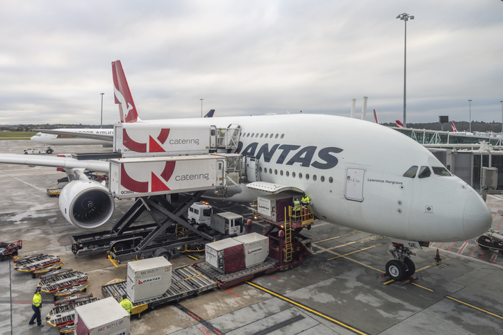 Qantas A380 airplane docked at Melbouren Airport