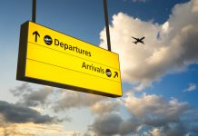 Departure & Arrival sign, Jet Airplane take off airport