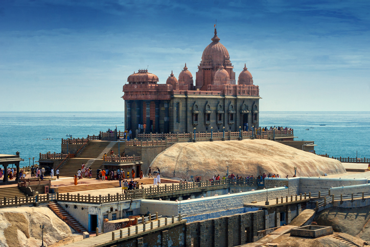 A view of Swami Vivekananda Memorial center situated on a small rock island in Kanyakumari, India
