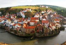 Panorama of Staithes Fishing Village, North Yorkshire