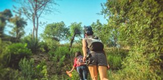 Young women hiking in mountain woods.
