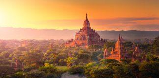 Pagoda landscape in the plain of Bagan, Myanmar