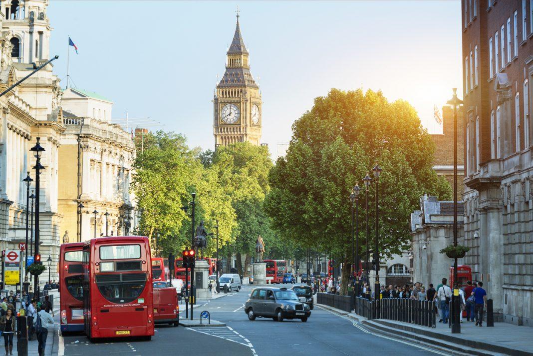 Big Ben and Whitehall from Trafalgar Square, London, vegan-friendly cities