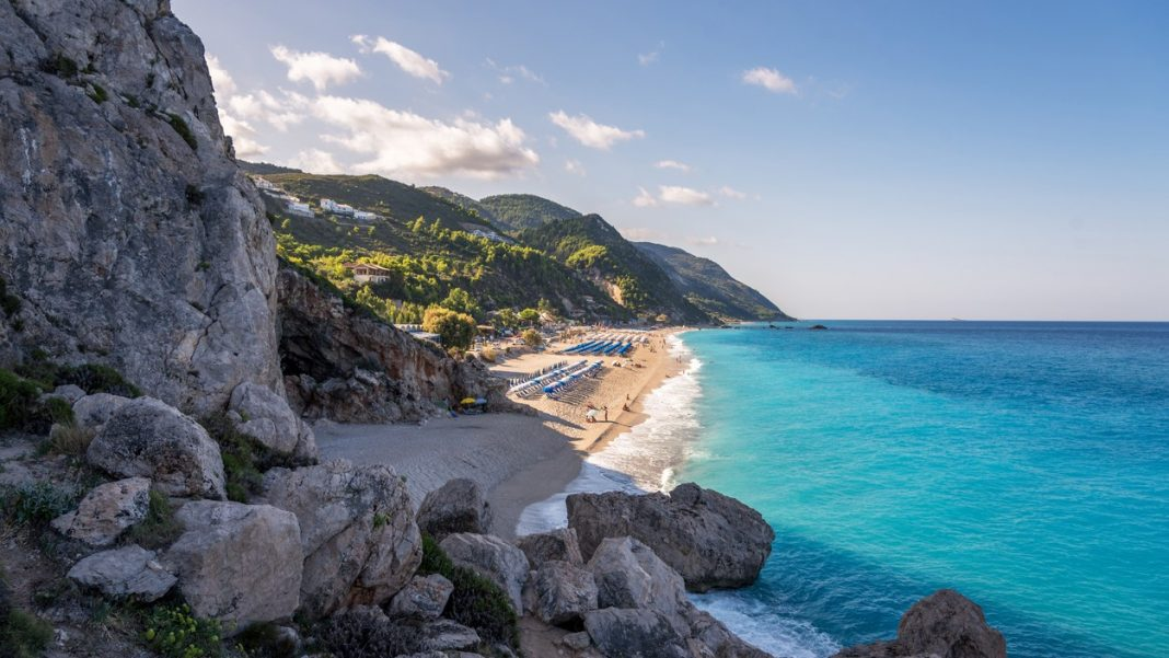 Kathisma Beach, Lefkada Island, Greece. Kathisma Beach is one of the best beaches in Lefkada Island in Ionian Sea