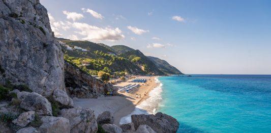 Greece, Kathisma Beach, Lefkada Island, Greece. Kathisma Beach is one of the best beaches in Lefkada Island in Ionian Sea