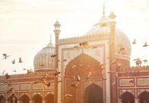 Jama Masjid mosque in Old Delhi, India.