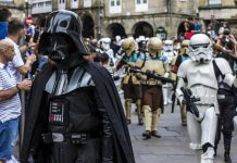 People disguised in Star Wars costumes galaxy's edge