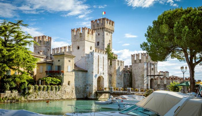 Rocca Scaligera castle in Sirmione town near Garda Lake