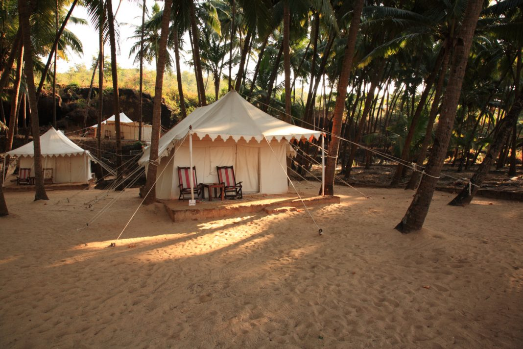 Luxury tent on Cola beach, Goa, India