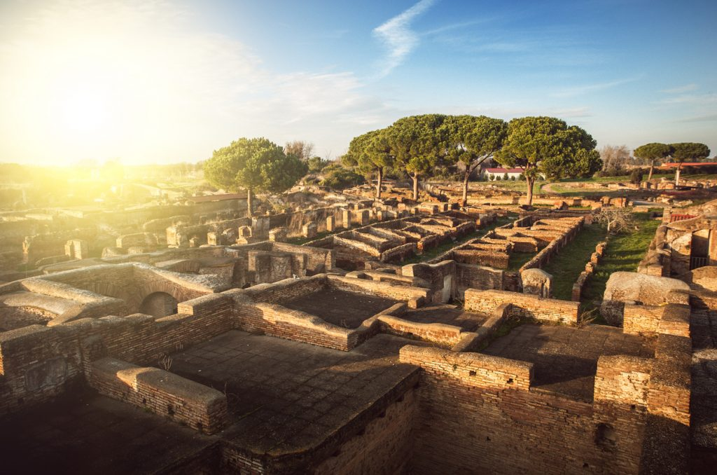 Roman Village View at Ostia Antica Archeological Site