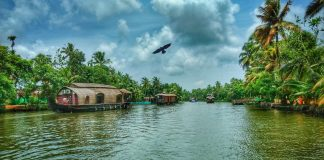 Glimpse of the God's Own Country, Kerala. Backwaters of Kerala can be seen along with house boats.