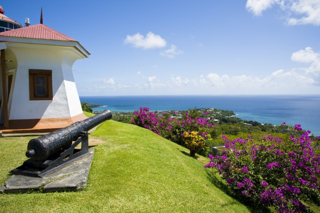 A view on the top of Fort King George in Tobago
